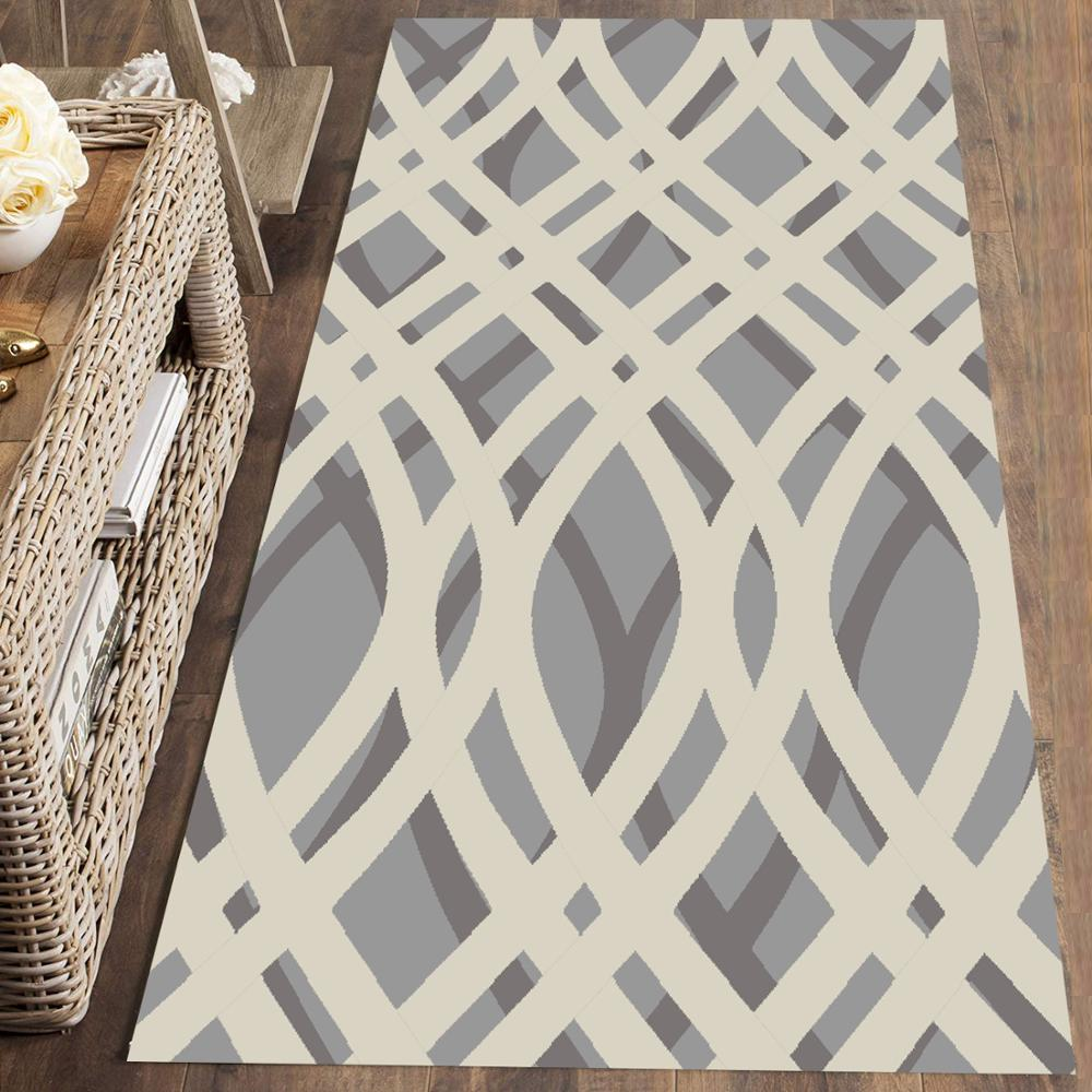 Else Gray White Mixed Geometric Lines Nordec 3d Print Non Slip Microfiber Washable Runner Mats Floor Mat Rugs Hallway Carpets