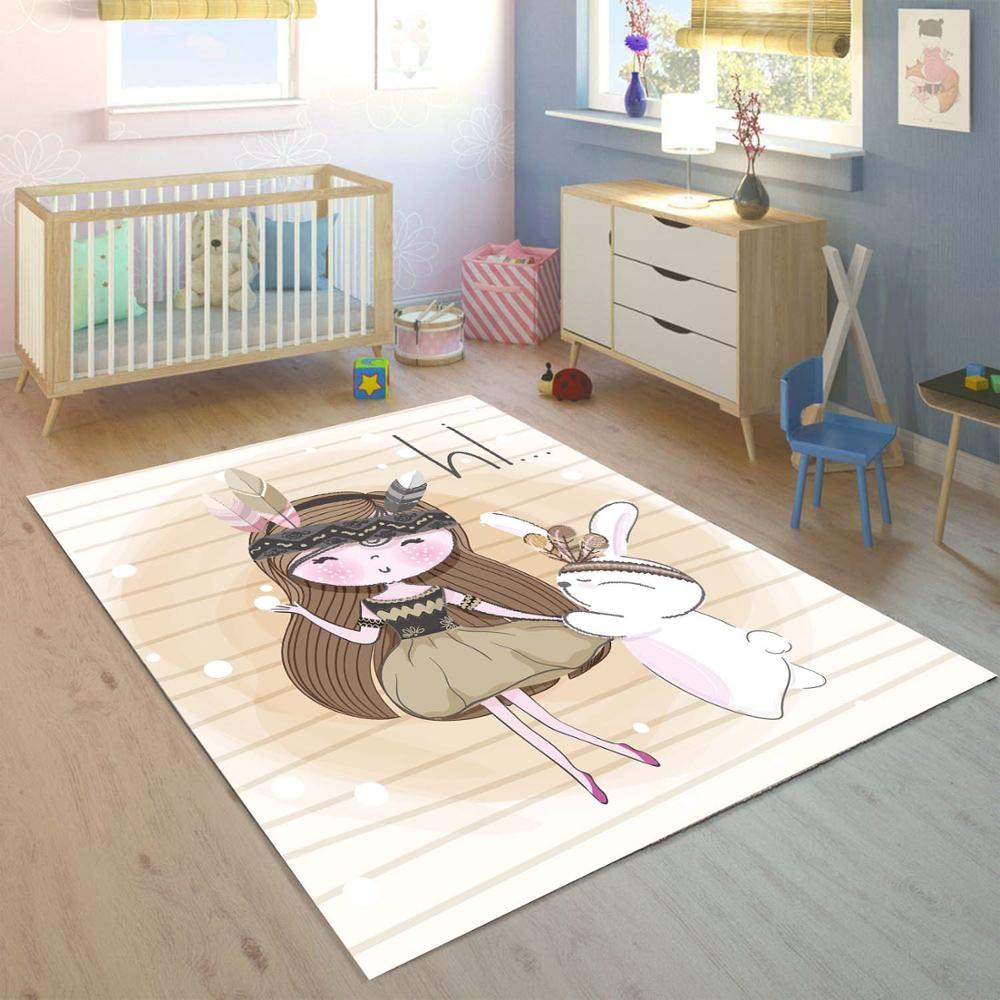 Else Funny Rabbit Little Girls Pink Stripes 3d Print Non Slip Microfiber Children Kids Room Decorative Area Rug Kids  Mat