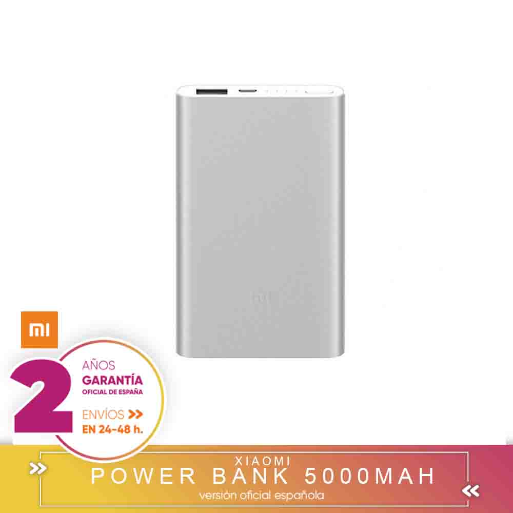 [Official Spanish Version Warranty] Xiaomi Power Bank 2 5000mAh Mi Powerbank 5000 External Battery's Loaded Portable- Silver