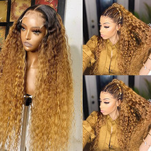 180 Density Curly 13x4 Lace Front Human Hair Wigs For Black Women Pre Plucked Brazilian Remy Ombre Colored 4x4 Lace Closure Wig