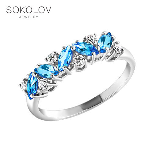 Ring. Sterling Silver With Topaz And Cubic Zirkonia Fashion Jewelry 925 Women's Male