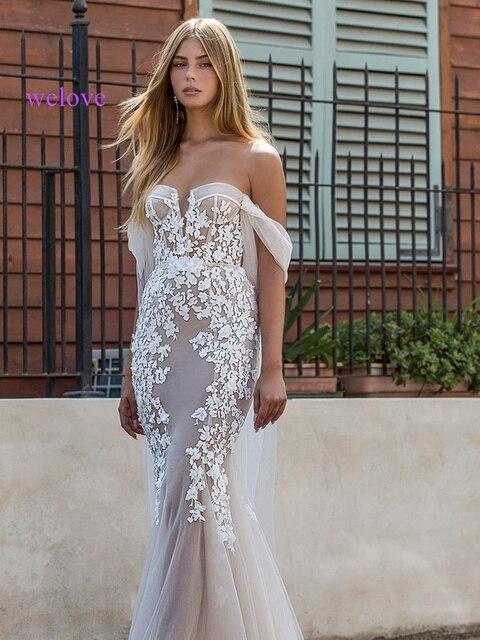 Sexy wedding dress 2021 appliques flower robe de mariee elegant bride dress lace wedding gowns beautiful mermaid bridal gown 2