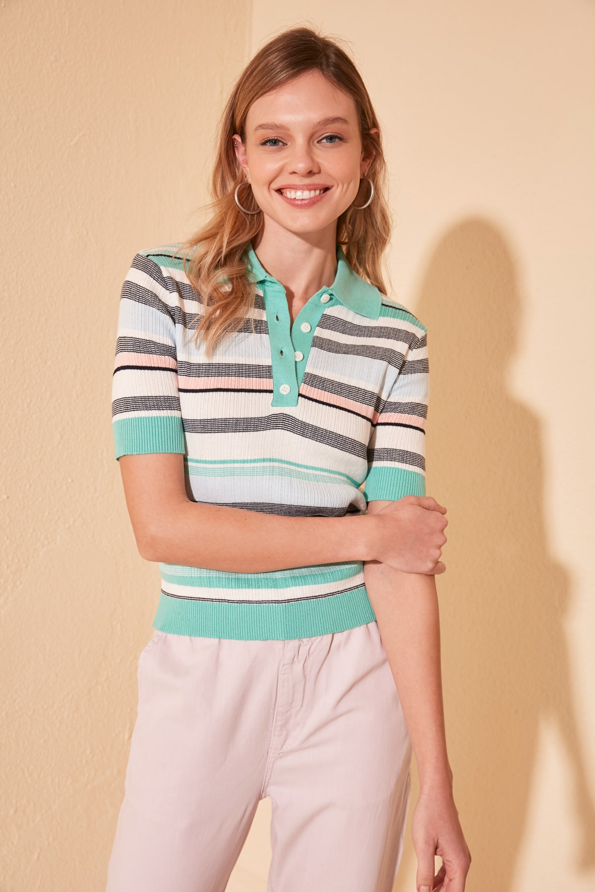 Trendyol Striped Polo Collar Knitwear Sweater TWOSS20KZ0042