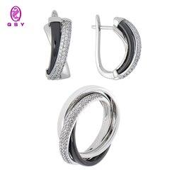 Ювелирный набор QSY. Тройные серьги и кольцо из черной керамики с фианитовыми вставками. Бижутерия из меди под золото и серебро.