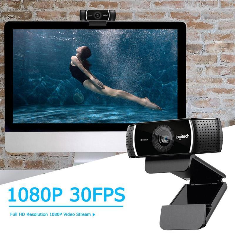 Logitech C922 PRO Webcam 1080P flux vidéo Full HD Autofocus ancre Web caméra commutateur de fond intégré double micro avec trépied - 2
