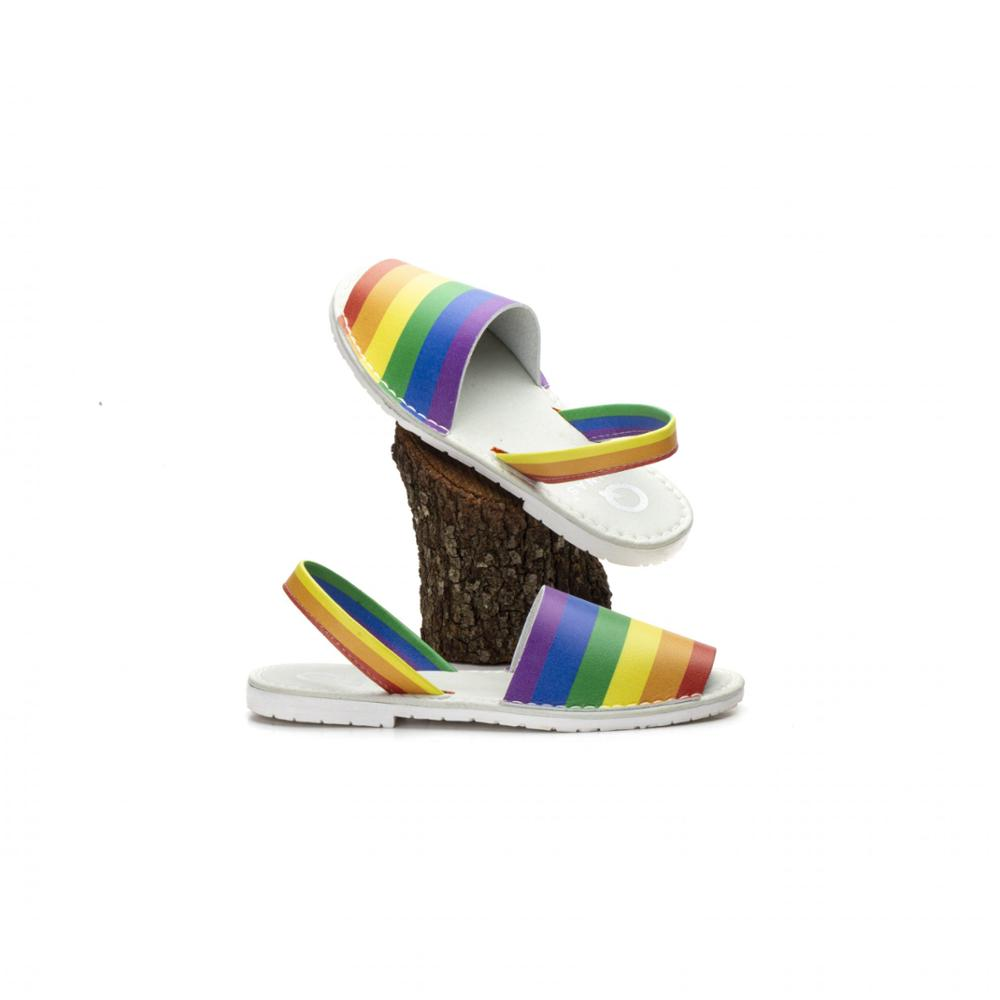Menorquina Vegan Unisex Marseille Rainbows | Unisex Carving 36-45 | Flat Shoes Unisex Sandals Sandal Summer
