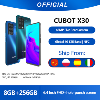 Cubot X30 8GB Smartphone 48MP Five Camera 32MP Selfie NFC 256GB 6.4'' FHD+ Fullview Display Android 10 Global Version Helio P60