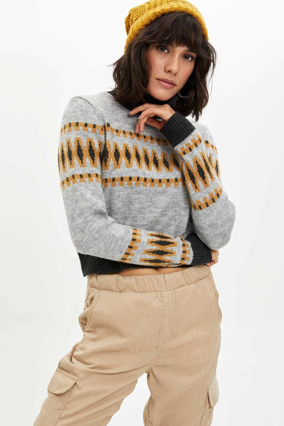 DeFacto Simple Fashion O-neck Pullover Striped Geometric Pattern Short Pullovers Ladies Casual Loose Tops Female - L9463AZ19WN