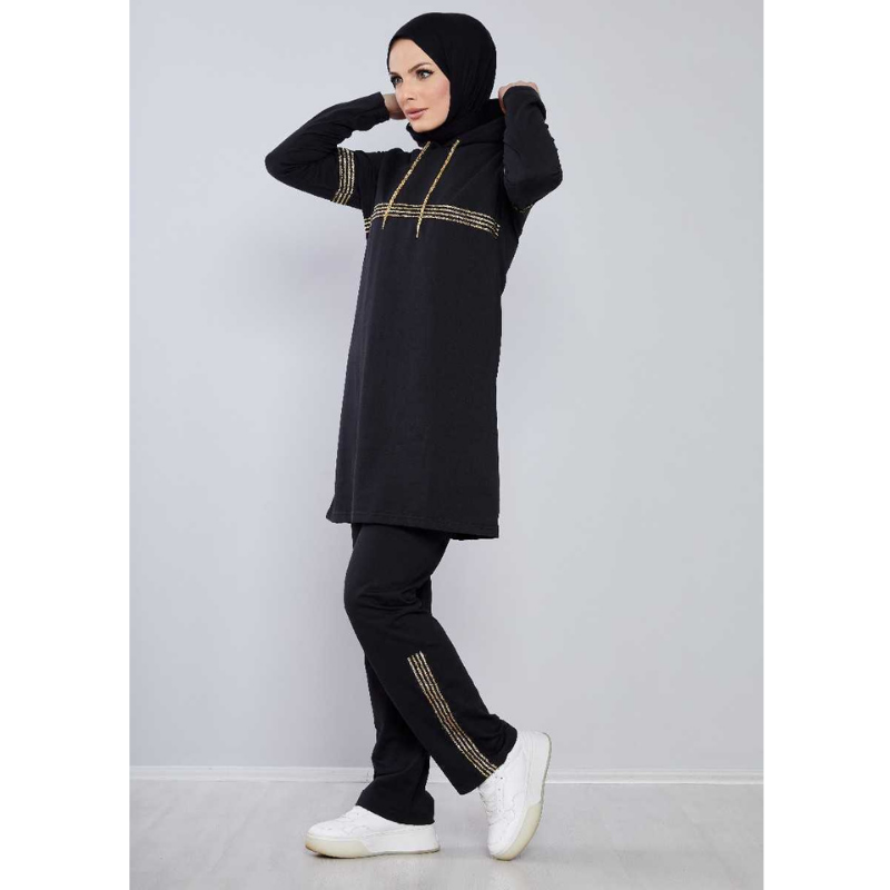 Muslim Double Tracksuit Robe Women's Plus Size Dress turkish clothes for women European Clothing Dubai Turkey Muslim Sets Clothe