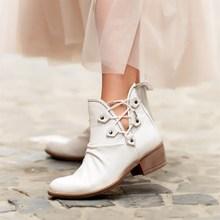 מפרש לייקרס אמיתי עור מגפי נשים אביב קיץ נשי קרסול מגפי גבירותיי נעליים יומיומיות רטרו לנשימה להחליק על נמוך העקב חמוד נעלי גודל 36 40 zapatos de mujer туфли женские