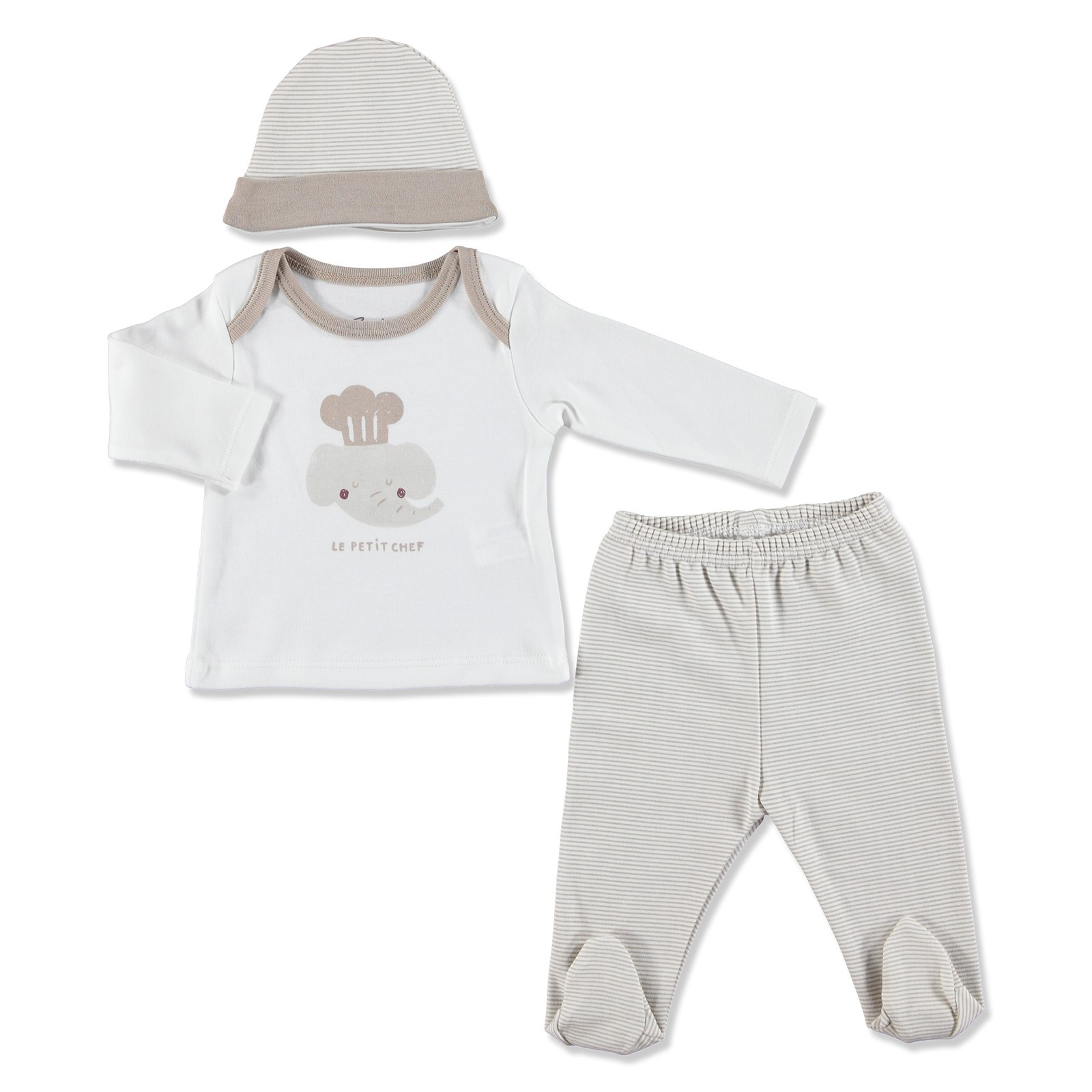 Ebebek Bambaki Summer Baby Boy Little Chief Bodysuit Hat Pant 3 Pcs Set