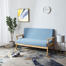 Living Room Modern 2-Seater Loveseat Sofa Chair Wooden Armchair Sofa Designed for Seating 2 Persons Comfortable Seat Light Blue