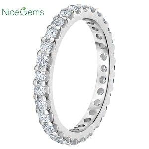Image 2 - NiceGems 14k białe złoto wieczność zespół okrągły Brilliant 1.00 ctw Moissanite obrączka Pave pierścień wieczności obrączka VVS1