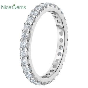 Image 2 - NiceGems Platinum Eternity Band Round Brilliant 1.00 ctw Moissanite Wedding Ring Pave Eternity Ring wedding band VVS1