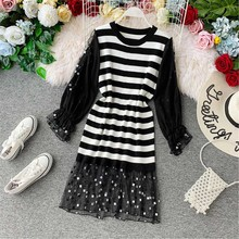 2019 New Fashion Chiffon Patchwork Flare Short Sleeve Dress Females O-neck Black White Striped Vestido striped dress