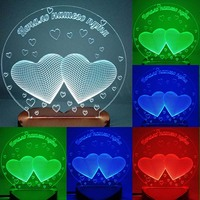 N 032 Two heart with love 3D USB led Eco friendly lamp night light, hand, table night light, home decor,