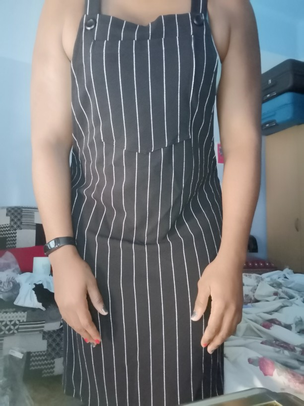Plus Size Black Striped Straps Mini Pinafore Dress Women Preppy Style A Line Short Dresses photo review