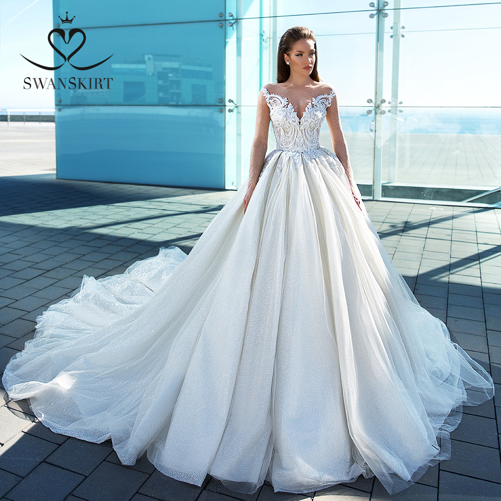 Glamorous Long Sleeve Princess Wedding Dress 2020 Swanskirt Appliques Ball Gown Sweetheart Bridal Gown Vestido De Noiva F307