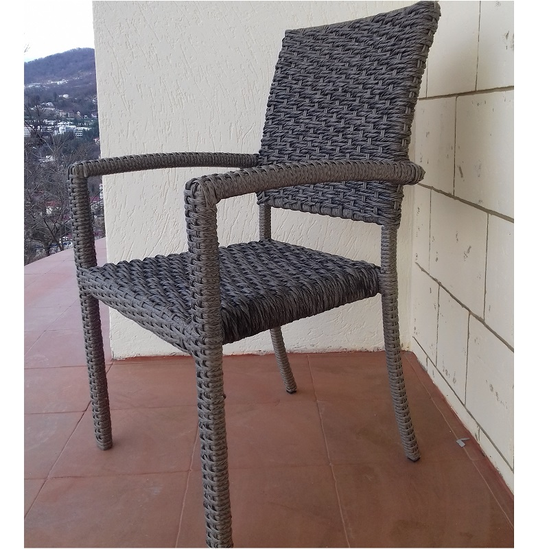 Garden Chair Markorotang With Cushioned Armrests, Woven Artificial Rattan