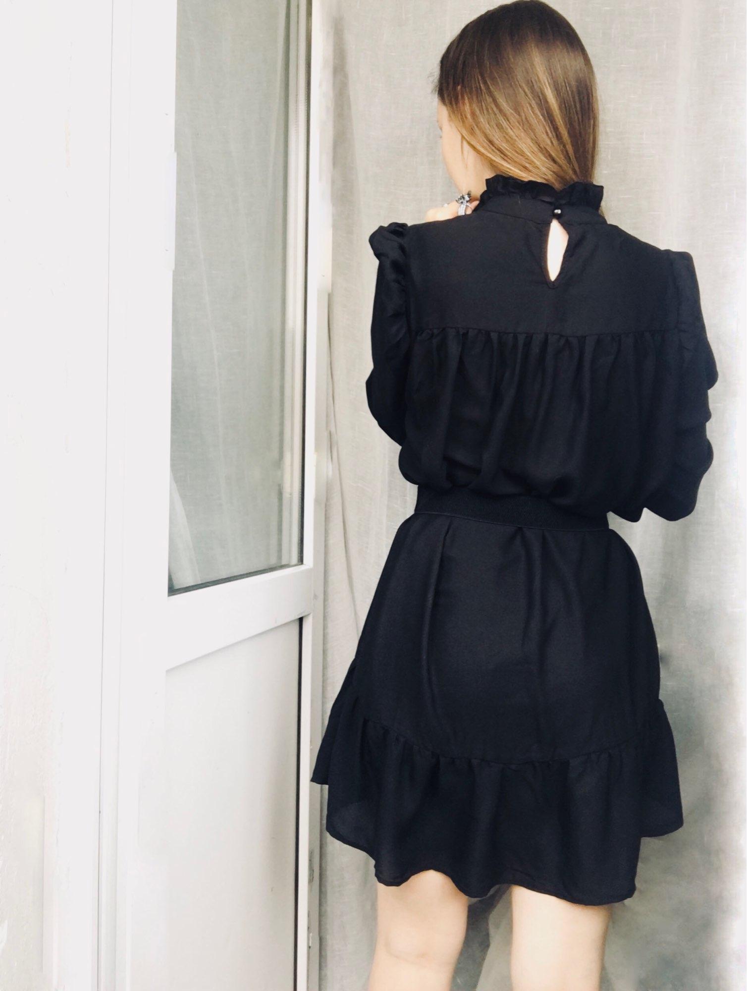 Hot 2019 autumn new fashion women's temperament commuter puff sleeve small high collar natural A word knee Chiffon dress reviews №8 510448