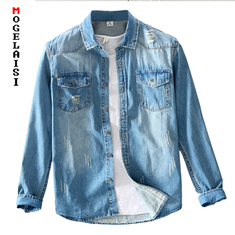 2020 New Spring Men Denim Shirt 100% Cotton Street Style Fashion Tops Man Clothing Two Pocket Long-sleeved Denim Shirts 5037