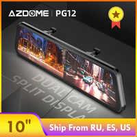 """AZDOME PG12 Schermo Full Touch 10 """"Specchio Dash Cam Streaming Media Obiettivo Doppio di Visione Notturna 1080P DashCam Auto DVR Supporto GPS"""