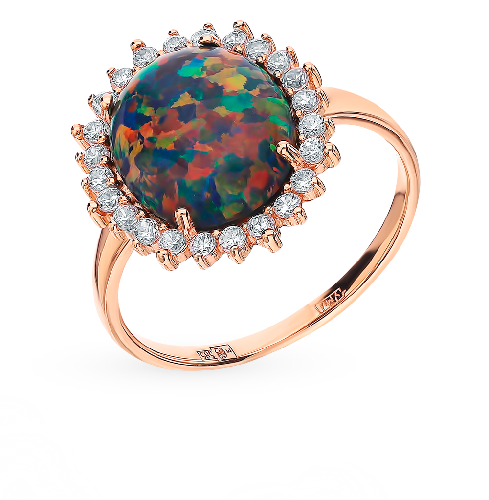 Gold Ring With Cubic Zirconia And Opals SUNLIGHT Test 585