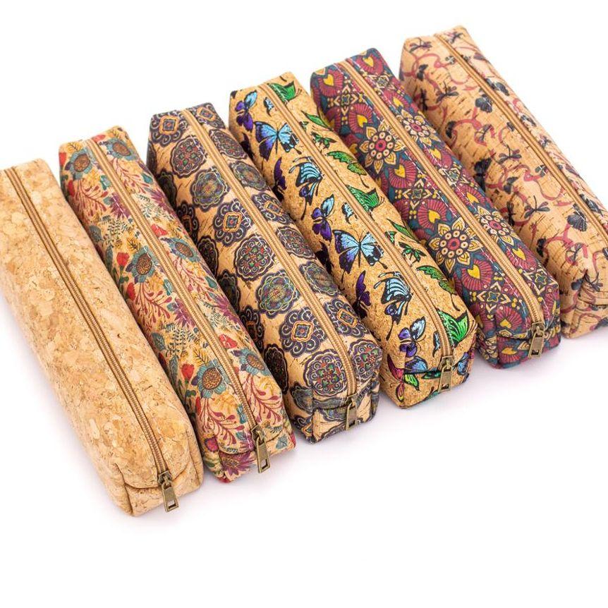 Large pencil case natural cork pattern Pencil case BAG-801