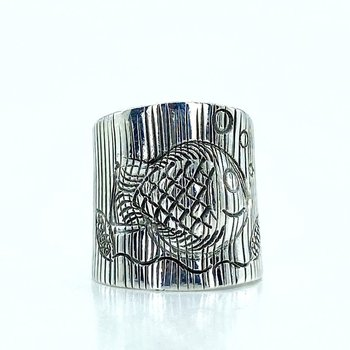 The Production Of handicrafts, Sterling Fish Pattern Authentic sterling Silver Ring