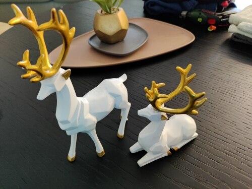 Scandinavian Golden Deer Figurine Statue - Decorative Sculpture photo review
