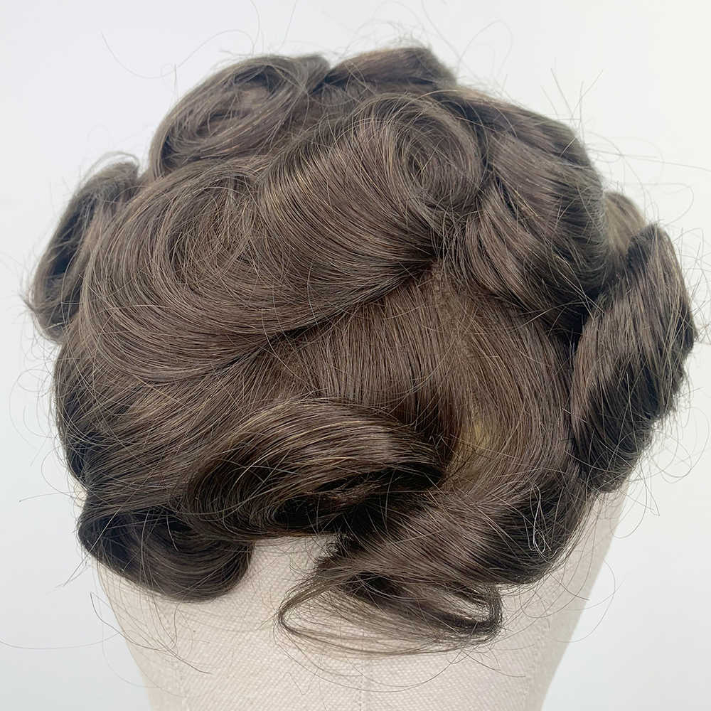 YY pelucas piel PU cabello humano tupé para hombres 6 pulgadas rizado Remy cabello sistema de reemplazo #7 cabello humano Marrón para hombres