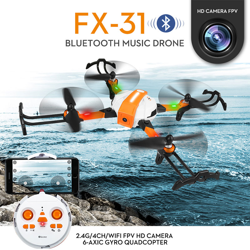 FX-31 4CH 6 Axis RC Drone 1080P Full HD Camera FPV 2 4GHz Helicopter Gesture Photo WIFI Quadcopter With Bluetooth Speaker