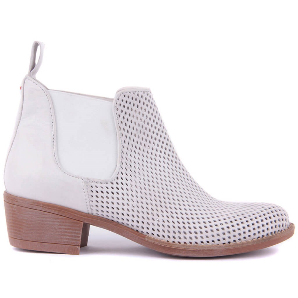 Sail-Lakers White Genuine Leather Short Boots Spring Summer Shoes Female Ankle Boots Ladies Casual Shoes Zipperless Breathable Slip on Low Heel Cute Booties
