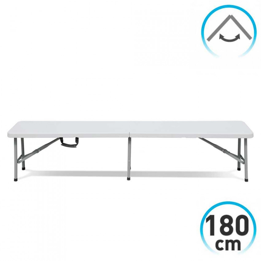 Folding bench 180x30x43cm white Catering GH91