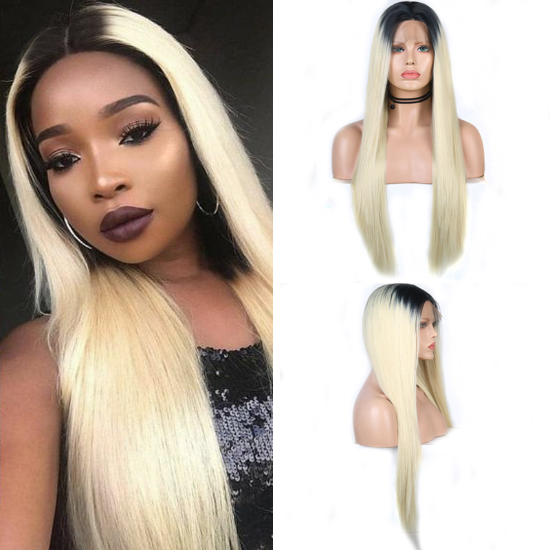 Charisma Ombre Blonde Wig Long Straight Hair Synthetic Lace Front Wig High Temperature Wigs with Black  Roots Cosplay Wigs
