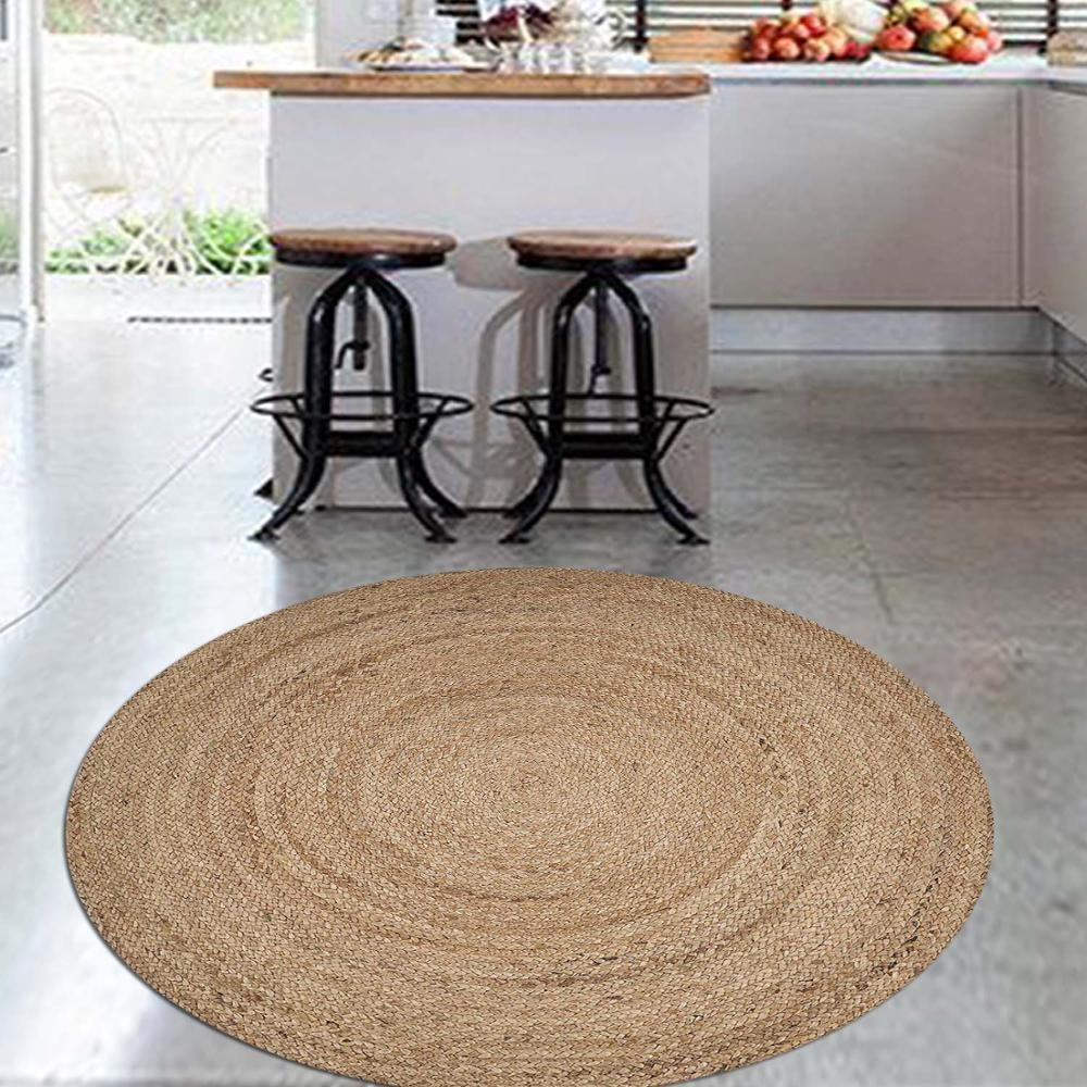 Else Brown Circle Wicker Jute Design 3d Pattern Print Anti Slip Back Round Kitchen Carpets Area Rug For Living Rooms
