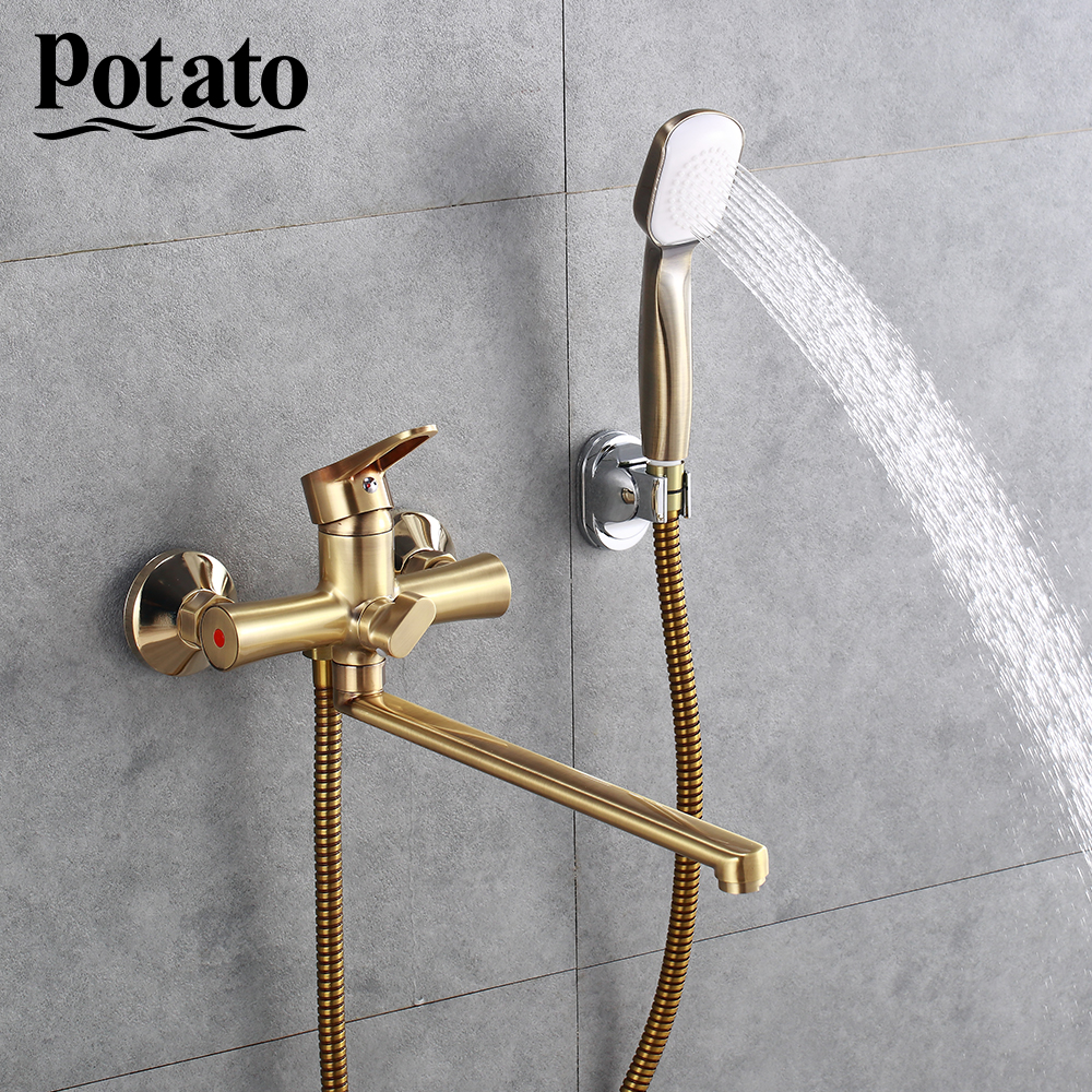 Potato 6 Colors 1 Set Wall Mounted Outlet Pipe Bathtub Faucet Waterfall Shower Faucet  With Shower Head  P22270-