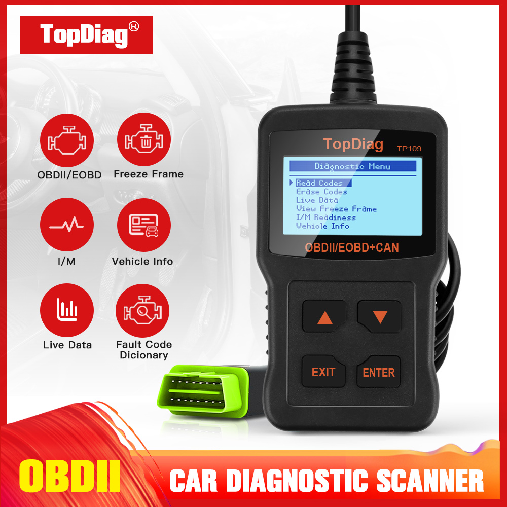 TopDiag TP109 OBD2 Scanner OBDII Engine Code Reader Clear Fault Code Car Diagnostic Tool Multilingual DTC Query Engine Scanner
