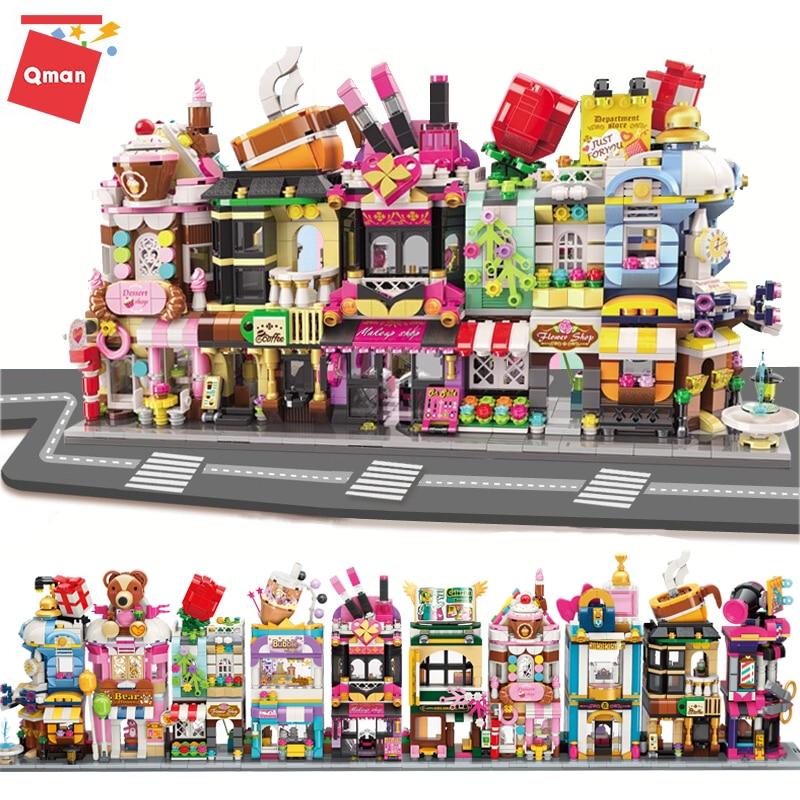 Конструктор Qman Mini Street View, городской цветок, макияж, магазин, кафе, модель, 3D архитектуры, обучающие игрушки для детей