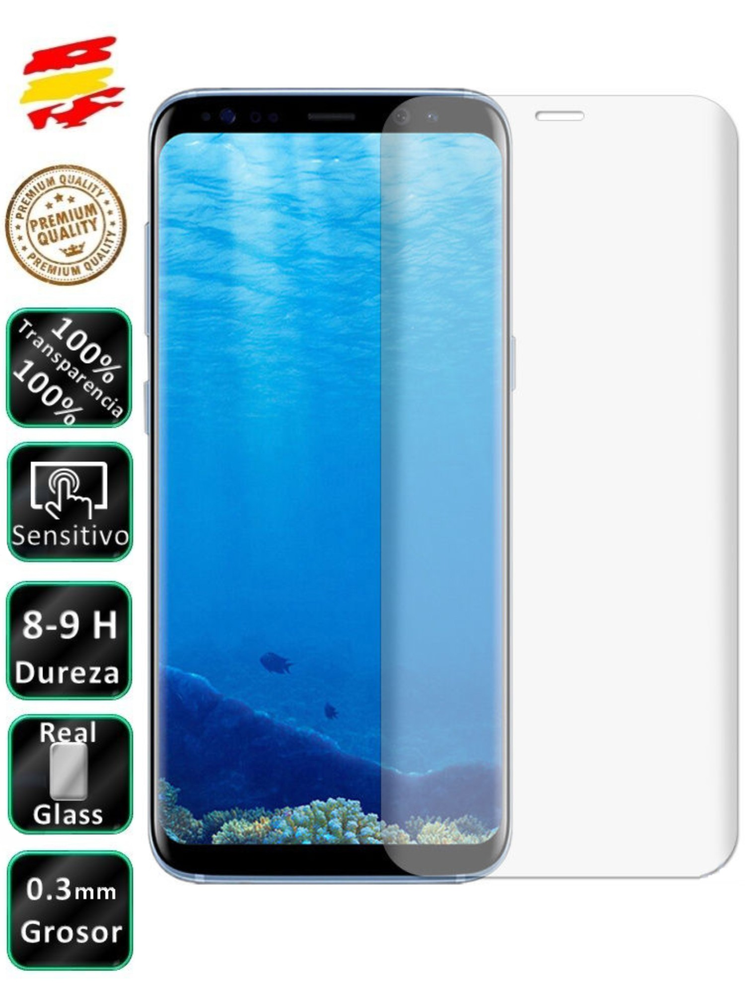 Protector Samsung S8 Plus Transparent 3D Full Screen Tempered Glass