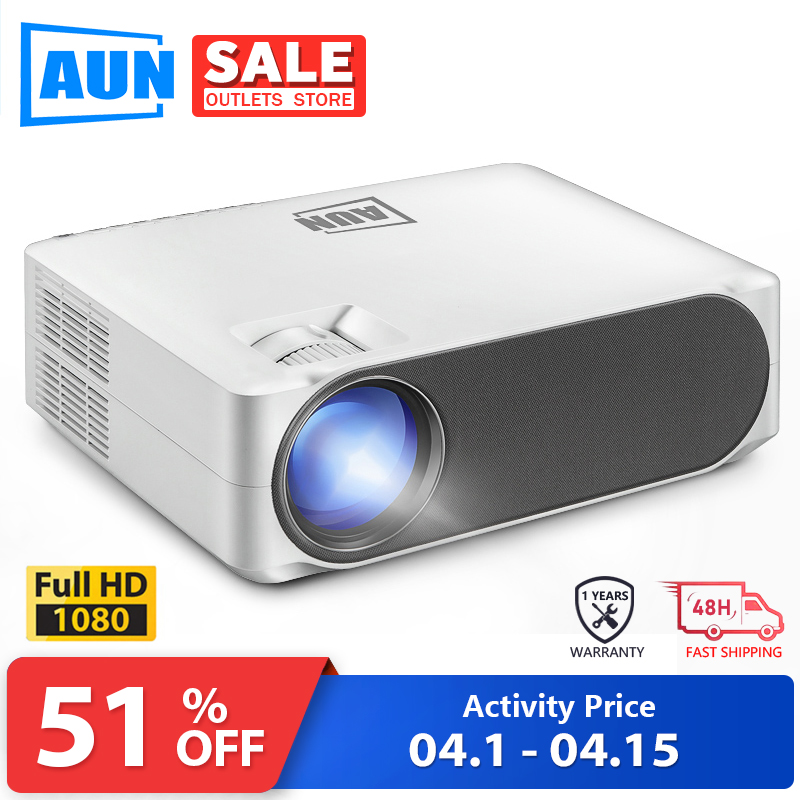 AUN Full HD LED Projector AKEY6 | 1920x1080P Upgrade 6,800 Lumens | Home Cinema | 3D Video Beamer (Optional Android 6.0 WiFi)
