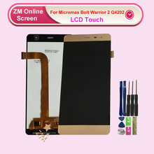 RYKKZ 5.0 Inches For Micromax Bolt Warrior 2 Q4202 LCD Display With Touch Screen Digitizer Assembly Replacement Module Gold Gray micromax bolt q383 blue