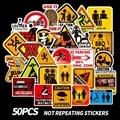 50 PCS/Pack Warning Stickers Danger Banning Signs Reminder Funny Decal Sticker to DIY Laptop Motorcycle Luggage Snowboard Car