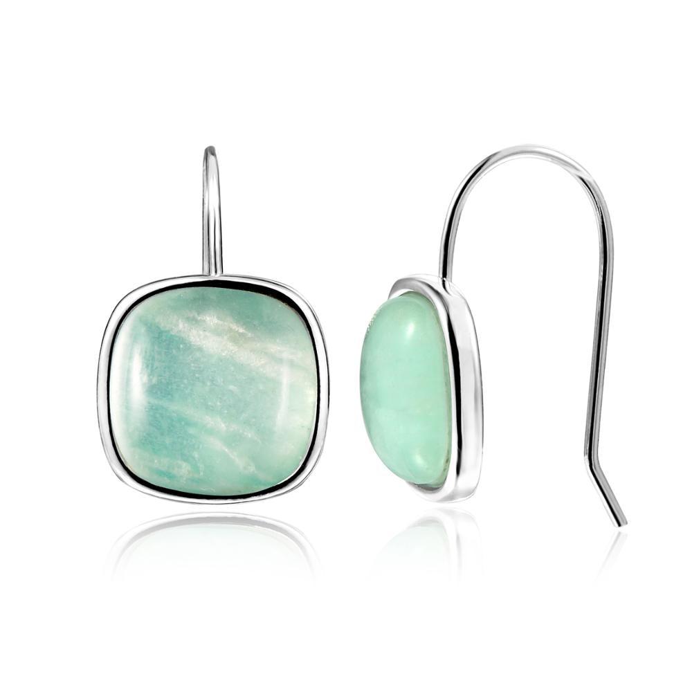 Dormith Modern Stylish 10*10 Natural Amazonite Gemstone Drop Earrings For Women Jewelry