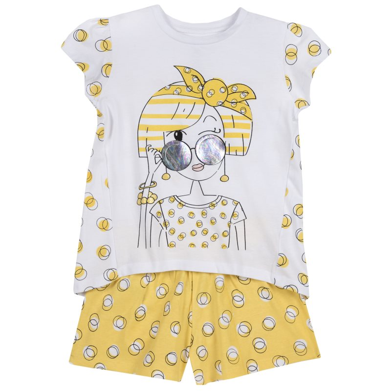 Фото - Set T shirt and shorts Chicco, size 098, print girl (white and yellow) set t shirt and shorts chicco size 080 print pirates white and black