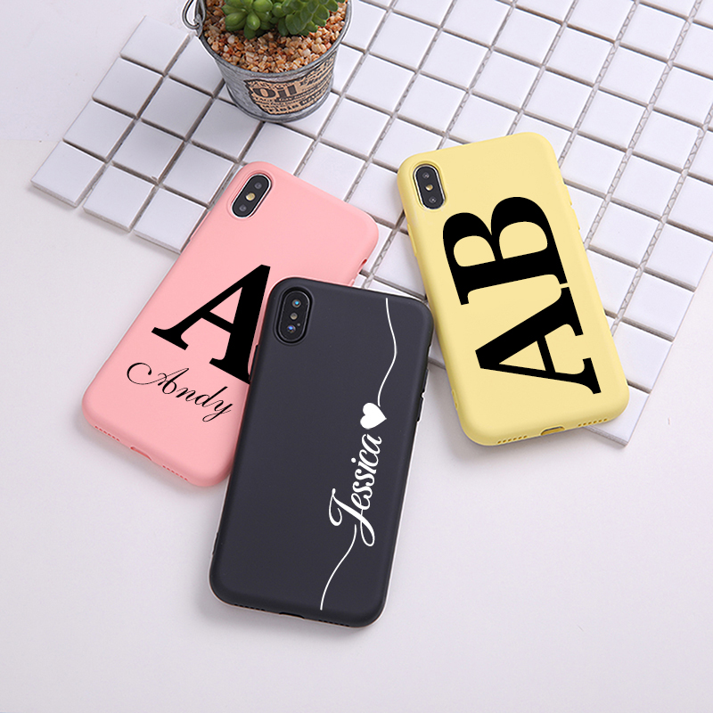 Personalisierte Name Initialen Weiche Flüssigkeit Silikon Fall Für <font><b>iPhone</b></font> X XR XS MAX 6S 6 7 <font><b>8</b></font> <font><b>Plus</b></font> Abdeckung coque Shell image