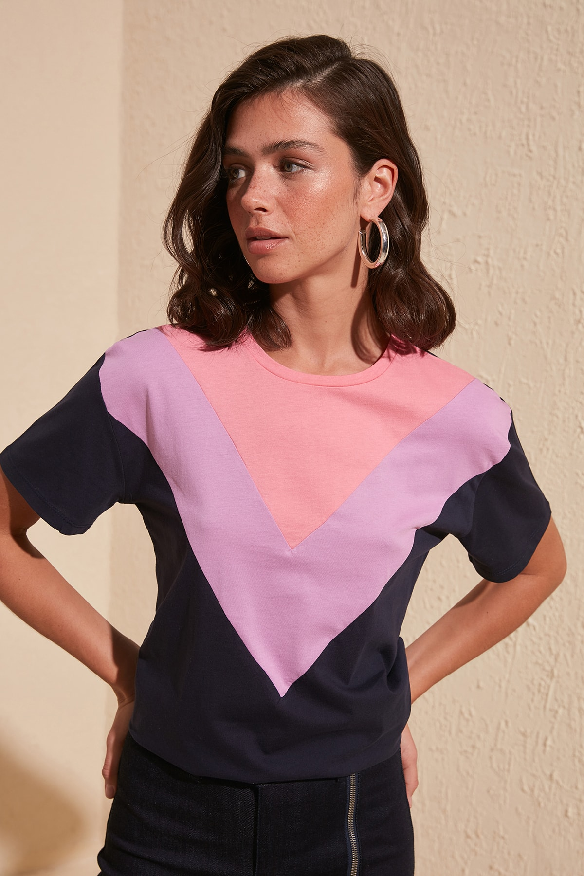 Trendyol With Color Block Semi-fitted Knitted T-Shirt TWOSS20TS0581