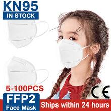 5/10/20/30/40/50/100 pçs ffp2mask crianças kn95 máscara de tecido mascarilla infantil 5 camadas ffp2 máscaras de proteção enfan