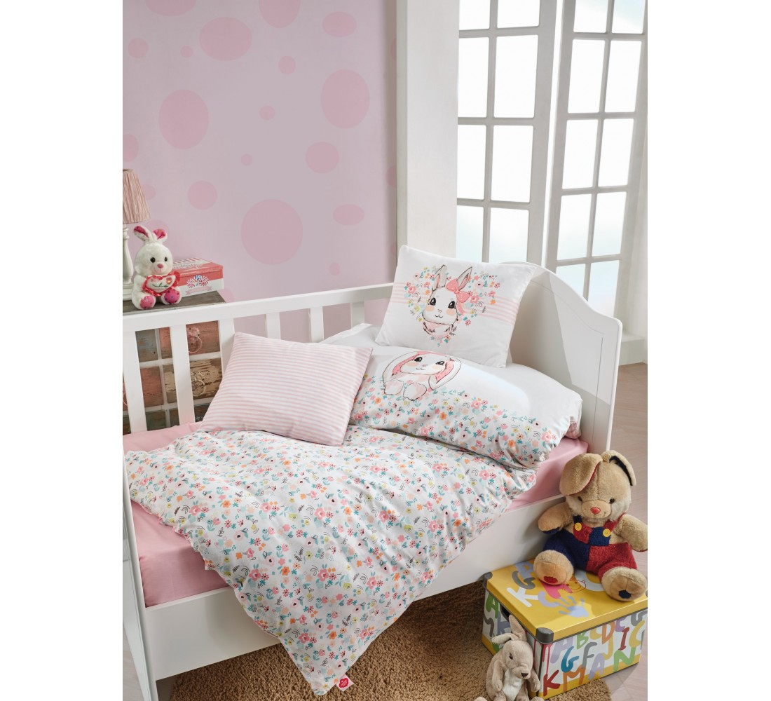 Cotton Box Baby Duvet Bed Cover Single, Duvet Cover, Flat Sheet, Pillow Case, Baby Room, Baby Gift, Girl and Boy Bunny Pink