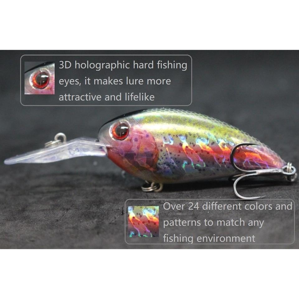 Crankbait Fishing Lures Wide Wobble Slow Floating Lifelike Painting 2X Hook 11cm